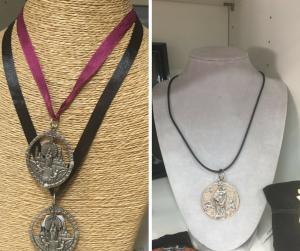 Colgante con la Virgen del Pilar - cuero y cinta - Zaragoza Ole Souvenirs