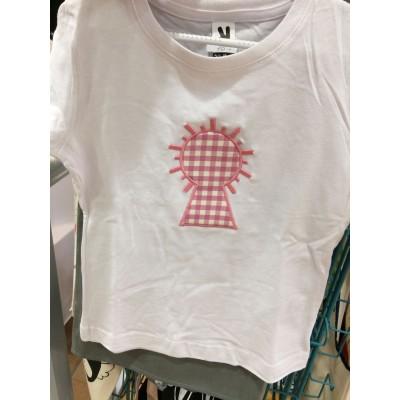 Camiseta niño y niña silueta Virgen en Vichy