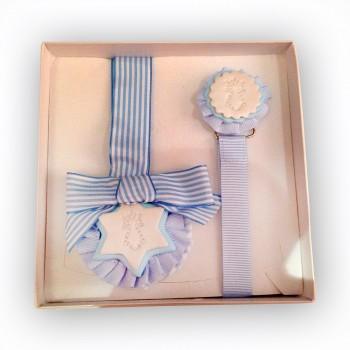 Conjunto de chupeteros y colgante de cuna color Azul